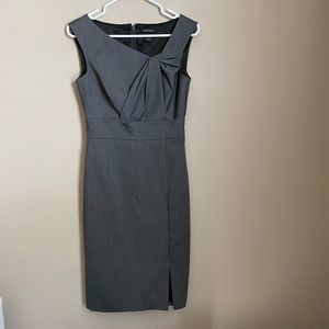 White House Black Market Gray Fitted Dress Sz 2